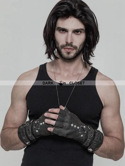 Punk Rave Grey Steampunk Gloves for Men
