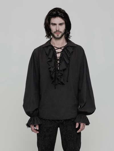 Punk Rave Black Steampunk Long Sleeve Shirt for Men