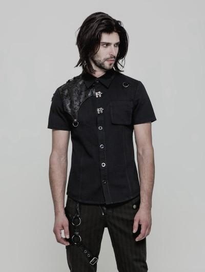 Punk Rave Black Gothic Punk Buckle Short Sleeves Shirt for Men