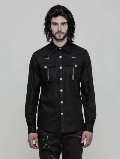 Punk Rave Black Gothic Punk Military Style Long Sleeve Shirt for Men