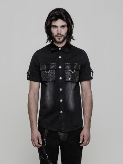 Punk Rave Black Gothic Punk Do Old Style Short Sleeve Shirt for Men