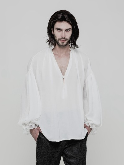 Punk Rave White Vintage Gothic Loose Shirt for Men