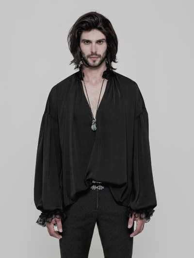 Punk Rave Black Vintage Gothic Loose Shirt for Men