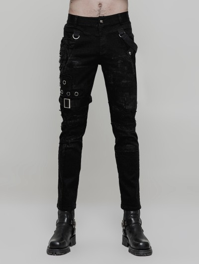 Punk Rave Black Gothic Punk Personality Vintage Trousers for Men