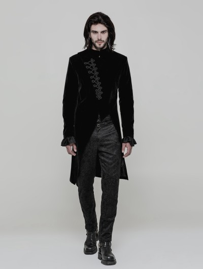 Punk Rave Black Vinatge Gothic Simple Three-quarter Coat for Men