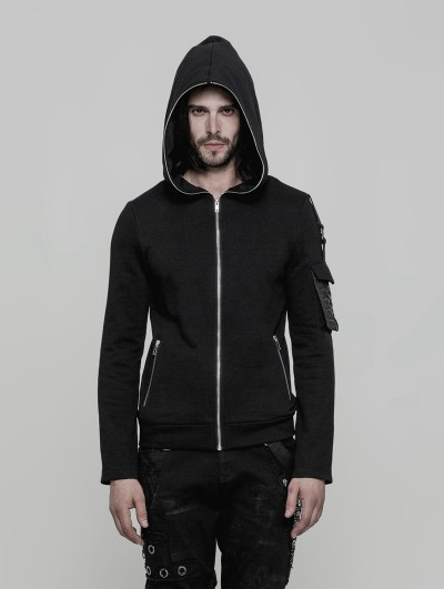 Punk Rave Black Gothic Punk Short Hooded Sweater for Men