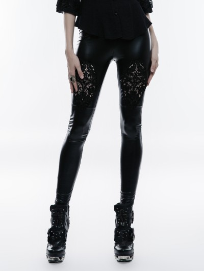 Punk Rave Black Lace Hollow-Out Gothic PU Legging for Women