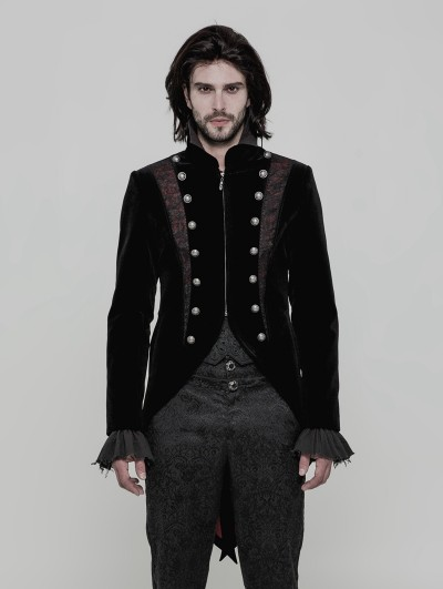 Punk Rave Black Velvet Vintage Gothic Double-Breasted Swallow Tail Jacket for Men