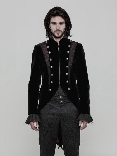 Punk Rave Black Velvet Vintage Gothic Double-Breasted Swallow Tail Jacket for Men
