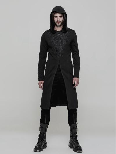 Punk Rave Black Vintage Gothic Hooded Sweater for Men