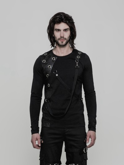 Punk Rave Black Gothic Punk Long Sleeves T-Shirt for Men