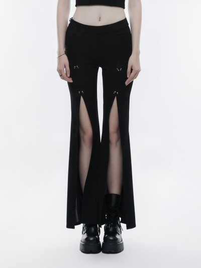 Punk Rave Black Gothic Punk High Split Pants for Women