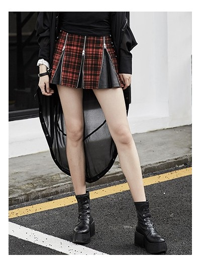 Punk Rave Gothic Punk Red Plaid Mini Zipper Skirt for Women