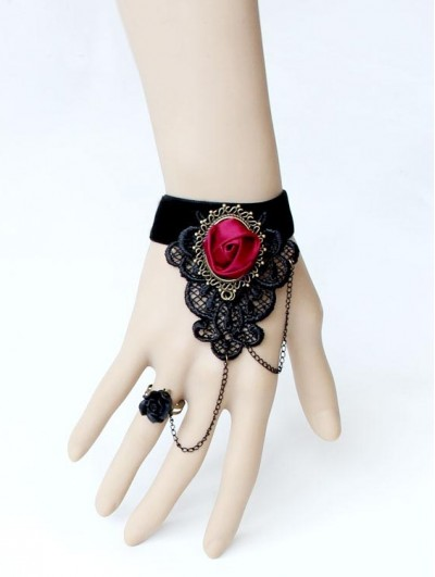 Handmade Black Gothic Bracelet Ring Jewelry with Red Flower