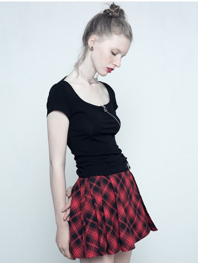 Punk Rave Gothic Punk Red Plaid Mini Skirt for Women