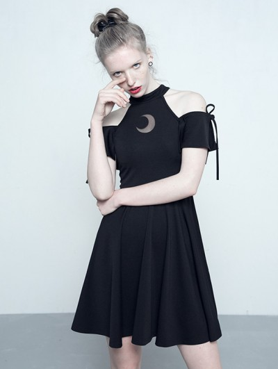 Punk Rave Black Gothic Off-the-Shoulder Moon Pattern Dress