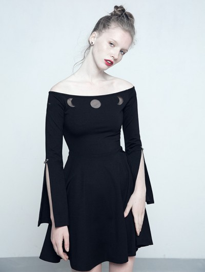 Punk Rave Black Gothic Off-the-Shoulder Dress with Earth and Moon Pattern