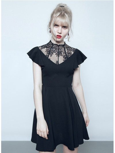 Punk Rave Black/White Summer Gothic Short Dress with Lace Collar