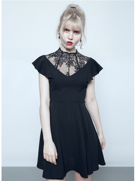 Punk Rave Black Summer Gothic Short Dress With Lace Collar