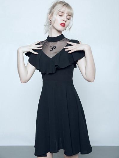 Punk Rave Black Summer Gothic Short Lotus Leaf Dress