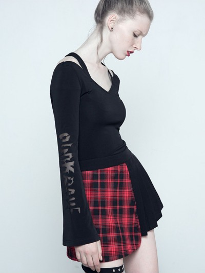 Punk Rave Black Gothic Long Sleeves Pierced Letters Shirt for Women