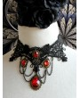 Handmade Black Lace Red Pendant Gothic Vampire Necklace