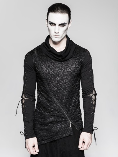Punk Rave Gothic Dark Decadent Asymmetric Hem T-Shirt for Men