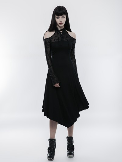 Punk Rave Gothic Dark Lace Spliced Off-the-Shoulder Dress