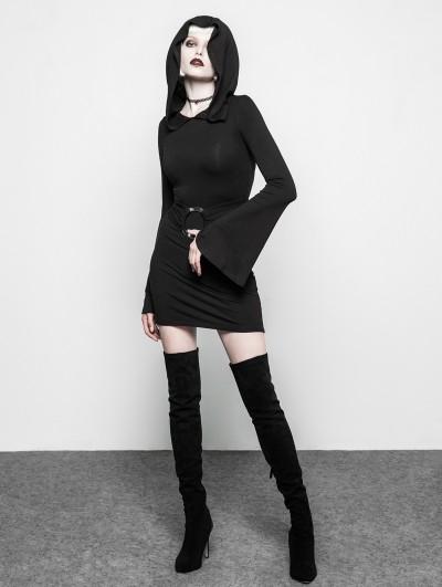 Punk Rave Black Gothic Witch Belt Short Hooded Dress