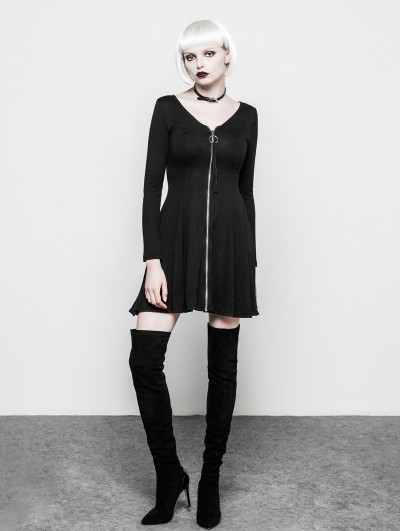 Punk Rave Black Gothic V Collar Sexy Woolen Dress