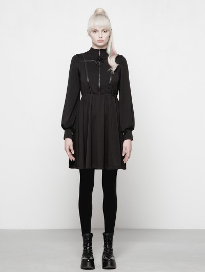 Punk Rave Black Gothic Dark Girls High-Collar Dress