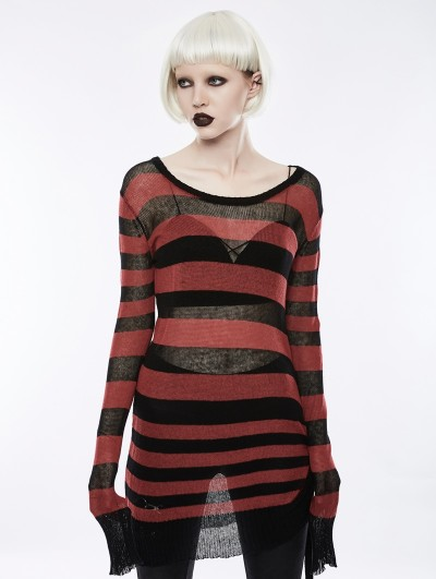 Punk Rave Black and Red Light Loose Broken-hole Sweater for Women