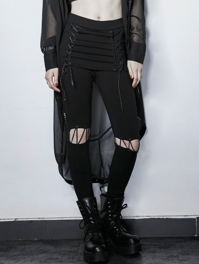 Punk Rave Gothic Punk Black Fake Two Pieces Lace-up Wild Pants for Women