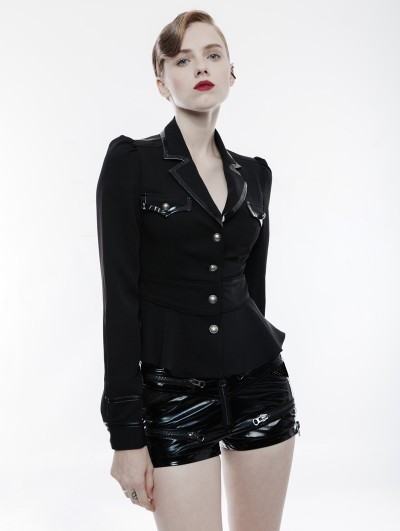Punk Rave Black Gothic Military Uniform Long Sleeve Shirt for Women