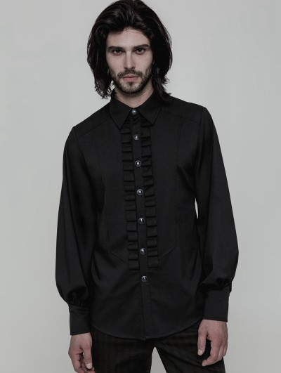 Punk Rave Black Gothic Uniform Long Sleeve Shirt for Men