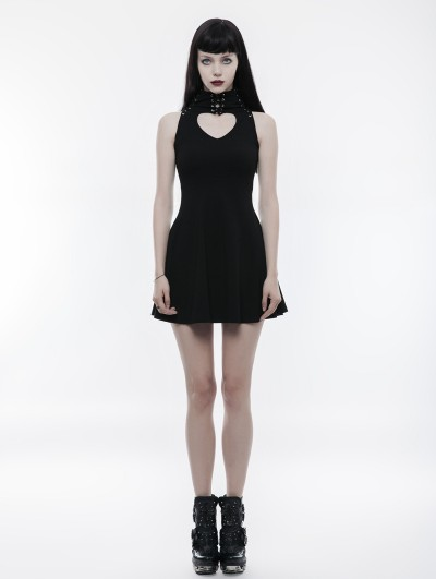 Punk Rave Black Gothic Heart Shape Hollow Out Laced Sleeveless Dress