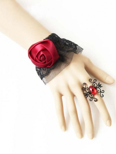 Handmade Black Lace Gothic Bracelet with Spider Ring