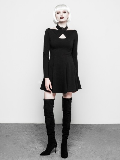 Punk Rave Black Gothic Cross Sleeve Neck Short Dress