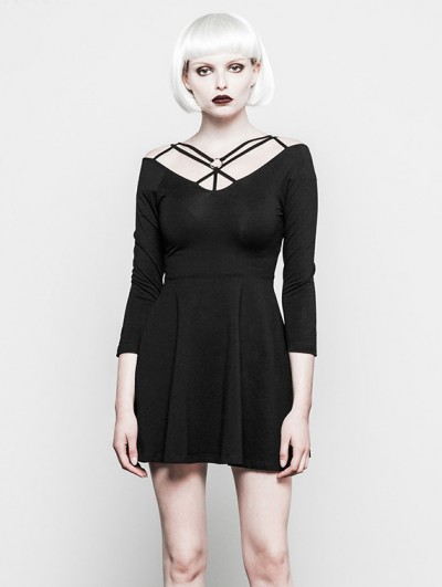 Punk Rave Black Gothic Straps Short Dress