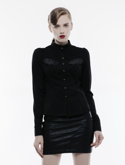 Punk Rave Black Long Sleeves Handsome Gothic Punk Shirt for Women