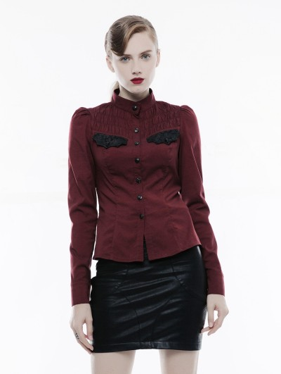 Punk Rave Red Long Sleeves Handsome Gothic Punk Shirt for Women