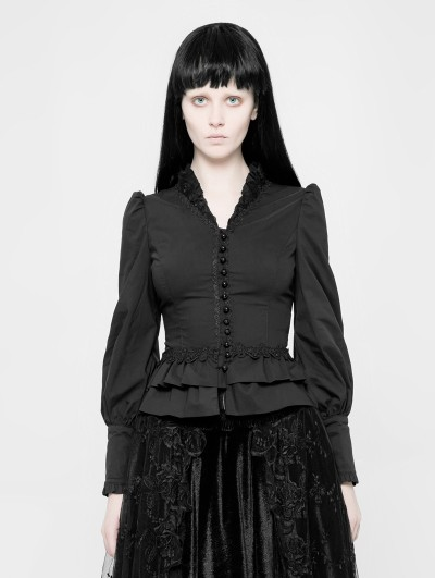 Punk Rave Black Gothic Palace Style Long Sleeves Shirt for Women