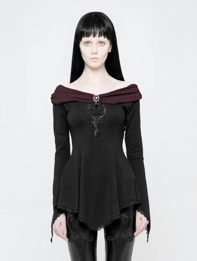 Punk Rave Black Gothic Off-the-Shoulder Asymmetric T-Shirt for Women