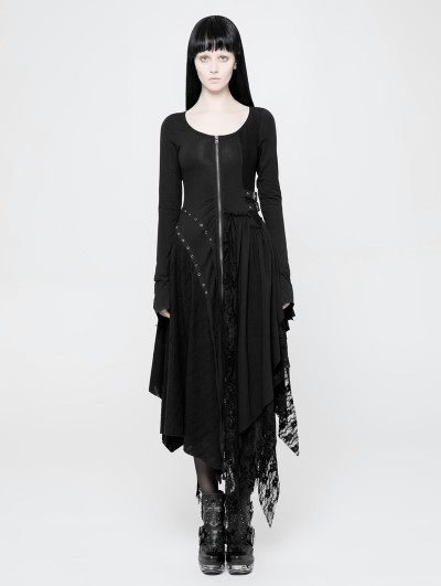 Punk Rave Black Gothic Punk Knitted Decadent Asymmetric Dress