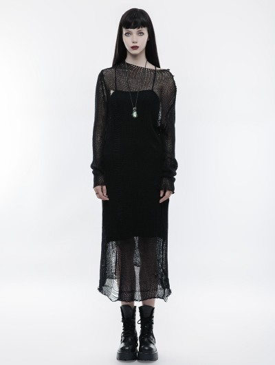 Punk Rave Black Gothic Transparent Long Dress Sweater for Women