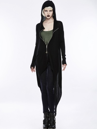 Punk Rave Black Gothic Darkness Knitted Cardigan for Women