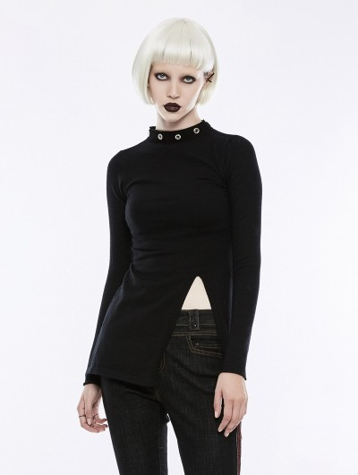 Punk Rave Black Gothic Diablo Split Stand Collar Sweater