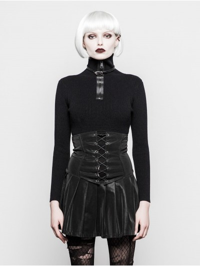 Punk Rave Black Daily Gothic Zipper High Neck Sweater for Women