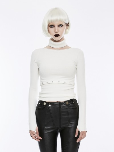 Punk Rave White Daily Gothic Punk Split Sweater for Women