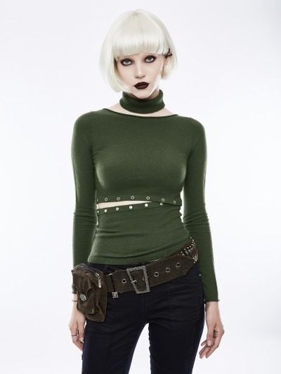 Punk Rave Green Daily Gothic Punk Split Sweater for Women